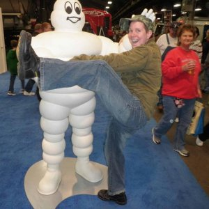 The Michelin Man and Me. . . Yep, that's me playing like I'm Harpo Marx! Lol