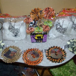 3 packages of spider web, ceramic and paper arrangement and cool BOO banner