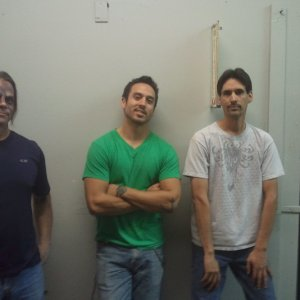 Left to right. Jason, artist. Travis, builder. Me (bad haircut guy).