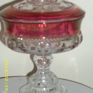 red glass candy dish