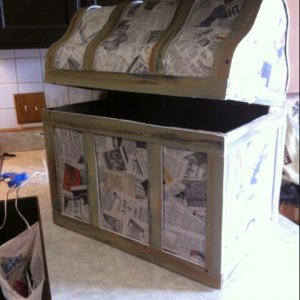 Paper Marche treasure chest work in progress