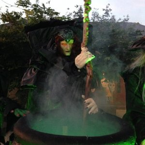 Cauldron creep witch with her eye LEDs on