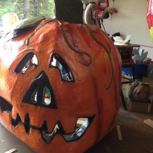 Giant pumpkin. We lit him from the back and had evil candies around his base.