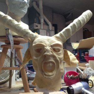 Krampus mask: cast in latex, before paint