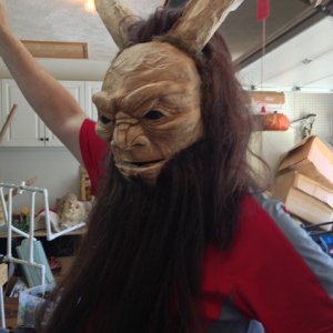 Hubby modeling another Krampus mask