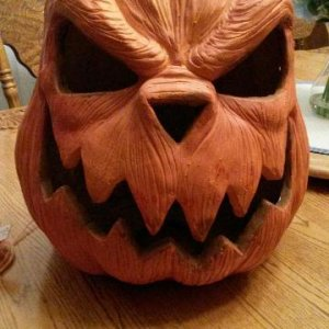ceramic pumpkin: Has alternating LED lights inside with glitter. Its identical to the Styrofoam pumpkins and is quite large.