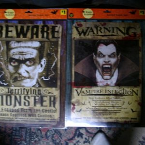 Cool warning posters with Frankie and Dracula