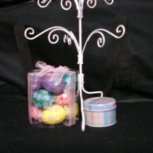 Sequined easter eggs and nifty tin with a tree