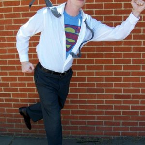 Faster than a speeding bullet! Thrifted or existing clothing, and one necktie with wire sewn into it (pinned to the shirt.)