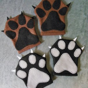 Costume paws I made for a friend's little boy.