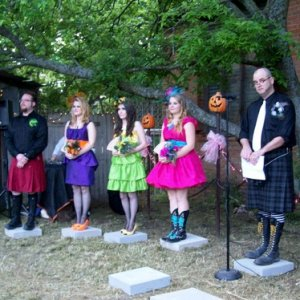 The bridesmaid and officiant (the haunt owner.)