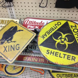 HobbyLobby, 2014. Bought the Vulture Crossing sign to go with my western scene and latex vultures I currently have.