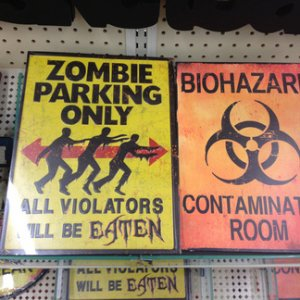 HobbyLobby, 2014. More halloween related metal signage from the Men's Decor area.