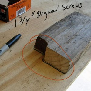 Using the thick wood from the center spine of the pallet wood, cut off 3 to 5 inch pieces of wood. You will need 8 pieces total.   While side is held