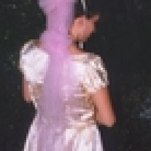 th pinkdress and parasole and pink handbag