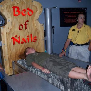 ben on an actual bed of nails...ouch!!