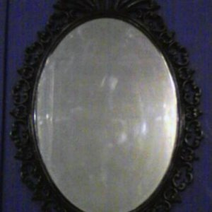 Here's the antique mirror I bought with a nice coat of black paint.  I absolutely love it!  I don't think this picture does it justice though.