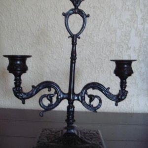 Flea market candlesticks painted black
