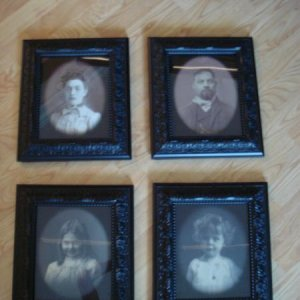 Haunted pictures. These are four pictures my friend got me. They are 8X10 I framed them in Michaels Black frames. From one view they look normal, from
