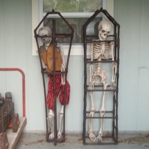 013 Skeleton inside and next to the first one I made.  Both made from 1/2 inch PVC pipe and fittings.