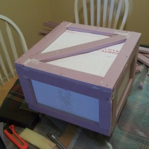 My first cardboard and foam board wooden crate.  unpainted
