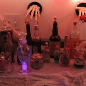 Witches Kitchen...cut open a glow stick and poured it into the Life Renewal potion.