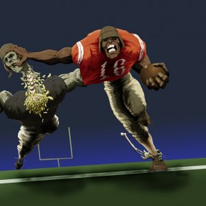 hellball football is just something that I came up with. I did the initial drawing and then used photoshop to render it.