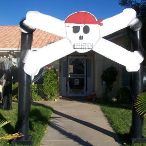 The Finished Product. Skull and Crossbones made from 1 giant sheet of styrofoam.