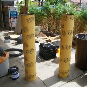 I started with pillars (for pouring concrete, very cheap) from a local home improvement store. (Lowe's or Home Depot)