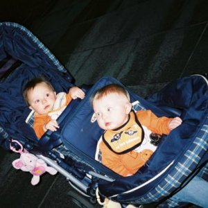 My twins at Fright Fest at Six Flags