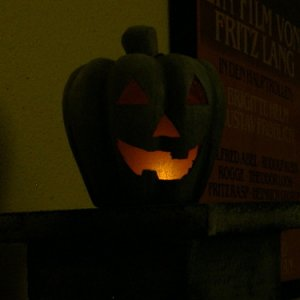 "Nifty new addition to my cheapy cardboard columns - ""stone"" jack-o-lanterns as column finials."