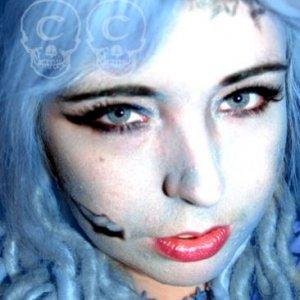 Corpse Bride practise make up with photoshopped hair (this is how it will look when I've made my blue dreadlocks for it)