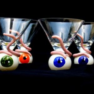eyeball martini glasses I painted then added polymer worms. Inspired by the Dept 56 version.