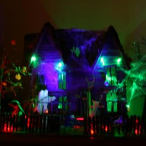 Table top haunted house lights on