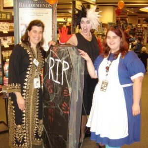 Working the Halloween event at the bookstore... me on far right, my attempt at Alice in Wonderland.