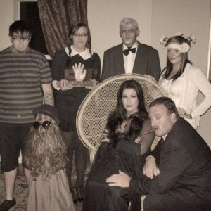 I am Morticia, my husband is Gomez, my son is Pugsley, my daughter is Wednesday, her bf is Lurch, daughter-in-law is Aunt Ophelia. Cousin It is my vac