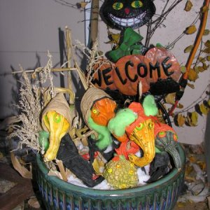 Halloween 2006  Had fun in an empty  flower pot. Gourds, FIMO clay, some twisted paper and green spiderwebs and we ended up with a ghoul gourd family!