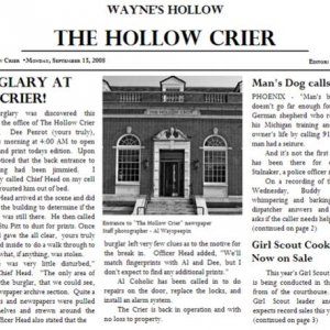 Tickler HollowCrier Article - Burglary at the Crier!
