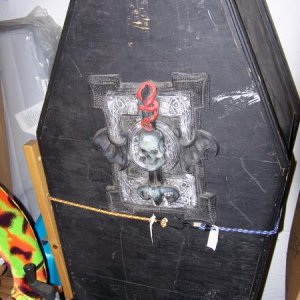My Coffin,  (A lot of my Props are stored inside) The more weathered it gets, the better.