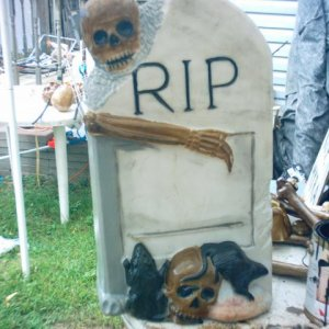 plastic tombstone  while painting