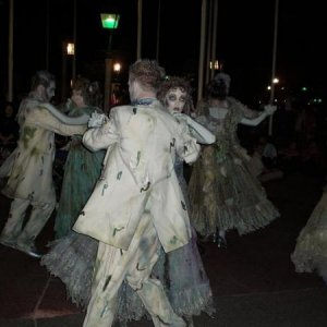 Dancing ghosts in the Mickey's Not So Scary Halloween Parade.