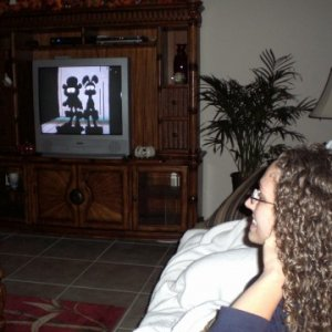 Me watching Garfield's Halloween, the night before my wedding =)