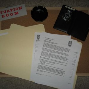 Situation Room (some of the props)...badge, Homicide report and other police forms.