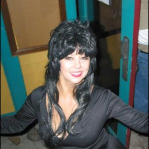 Elza as Elvira...late in the evening and makeup is wearing thin.