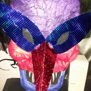 Fail prop. In my head it was going to be a cool scary-Mardi-Gras mask, but in real life it just didn't turn out.