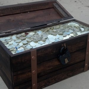 wooden  chest with faux treasure top