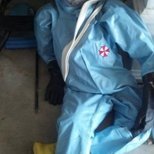Dr Marcus relaxing after being deployed against an Ebola outbreak. There is litle danger of being infected.