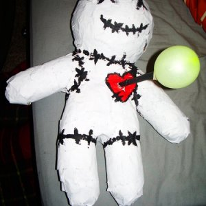 A Halloween party tradition of ours is to have a piñata. This year I made a voodoo doll piñata!
