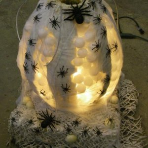 Spider egg sac with pulse light and air wigglers at entrance.  ----The kids had to reach in to get candy that year ;)
