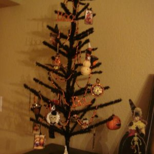 Love decorating this black halloween tree every year